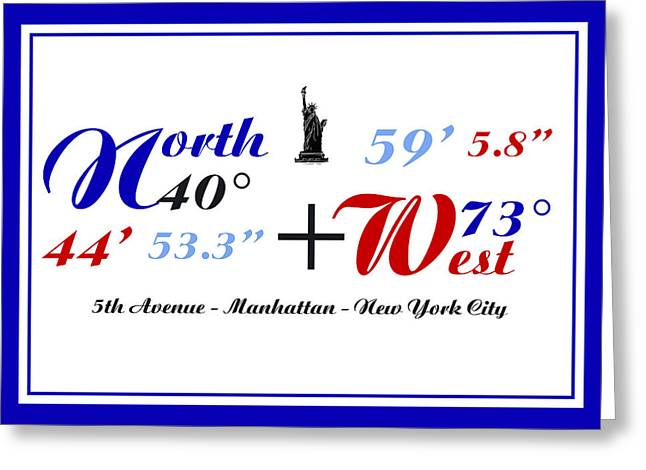 New York City Coordinates Greeting Card by Art Photography