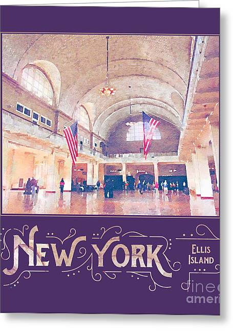 New York City Ellis Island Digital Watercolor Greeting Card