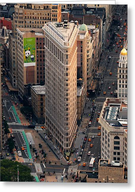 New York City Flatiron Building Aerial View In Manhattan Greeting Card