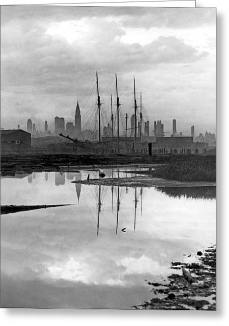 New York City From Long Island Greeting Card by Underwood Archives