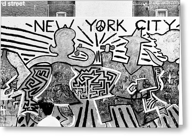 Greeting Card featuring the photograph New York City Graffiti by Dave Beckerman