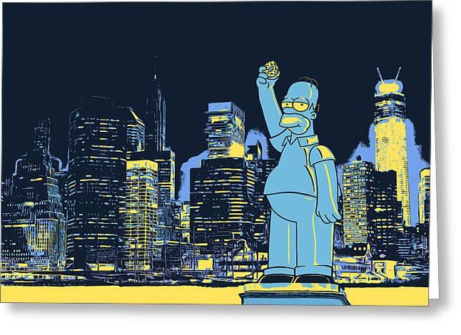 New York City Homer Statue Greeting Card