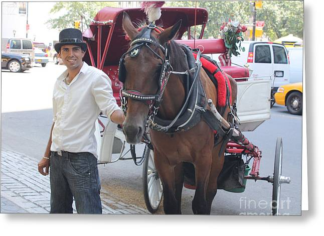 New York City Horse And Carriage Greeting Card by John Telfer