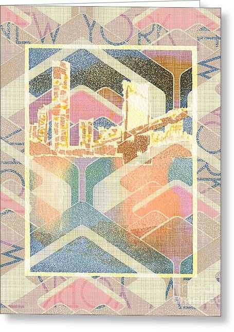 New York City In Pastel Tones - Manhattan Bridge Greeting Card by Beverly Claire Kaiya