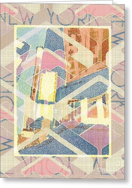 New York City In Pastel Tones - Times Square Greeting Card by Beverly Claire Kaiya
