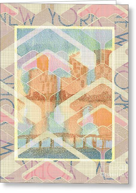 New York City In Pastel Tones - View From Brooklyn Greeting Card by Beverly Claire Kaiya