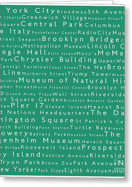 New York City In Words Algae Greeting Card by Sabine Jacobs