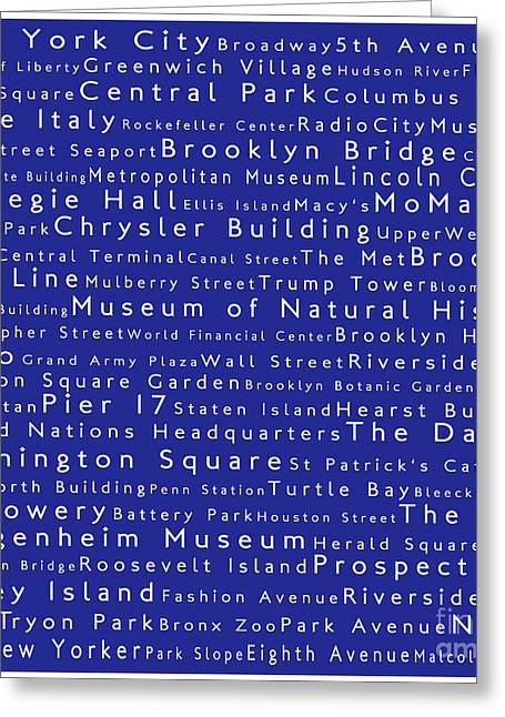 New York City In Words Blue Greeting Card by Sabine Jacobs