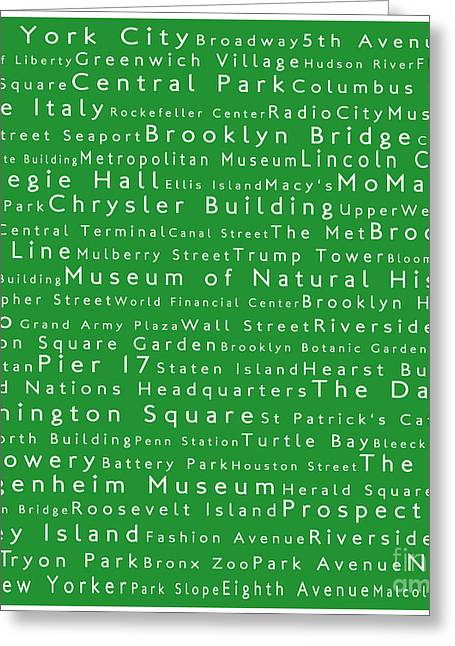 New York City In Words Green Greeting Card by Sabine Jacobs