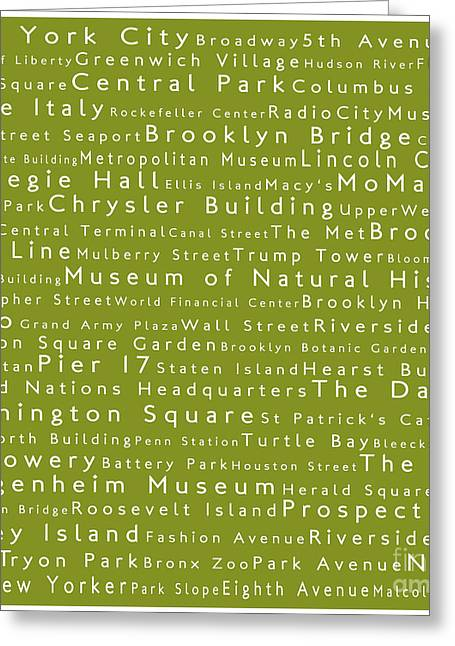 New York City In Words Olive Greeting Card by Sabine Jacobs