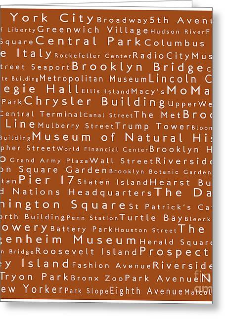 New York City In Words Toffee Greeting Card by Sabine Jacobs