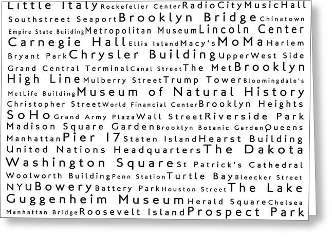 New York City In Words White Greeting Card