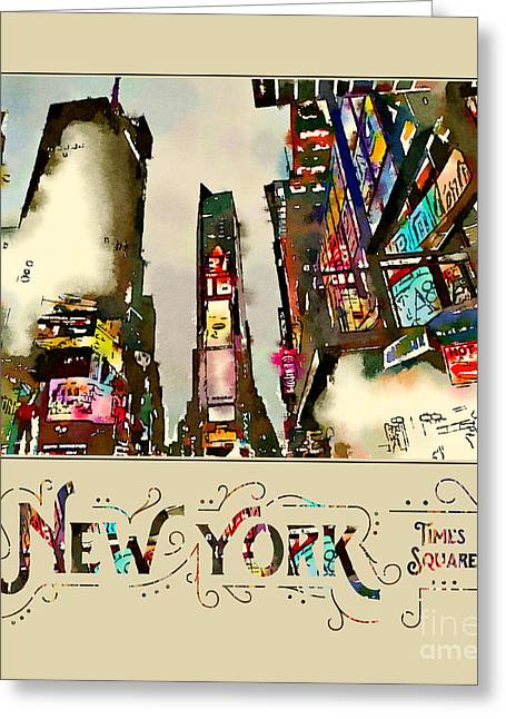 New York City Late Night Times Square Digital Watercolor 2 Greeting Card