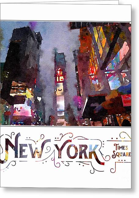 New York City Late Night Times Square Digital Watercolor Greeting Card