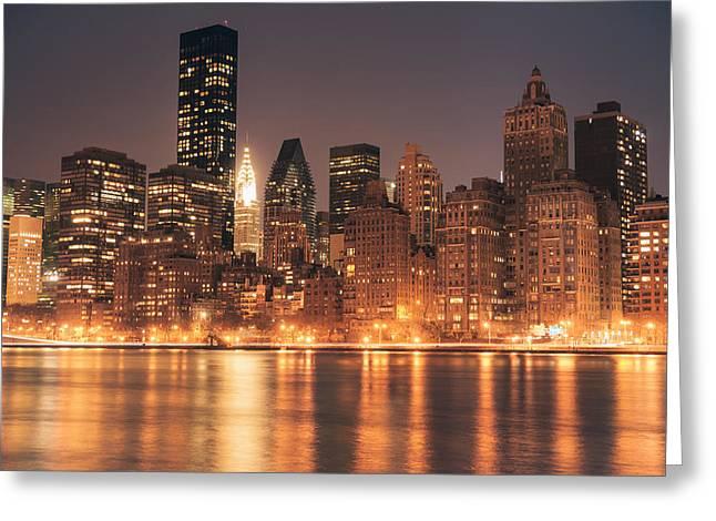 New York City Lights - Skyline At Night Greeting Card by Vivienne Gucwa