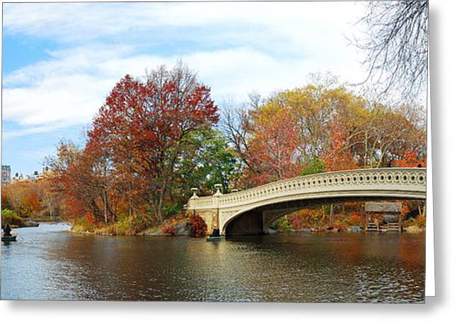 New York City Manhattan Central Park Panorama At Autumn Greeting Card