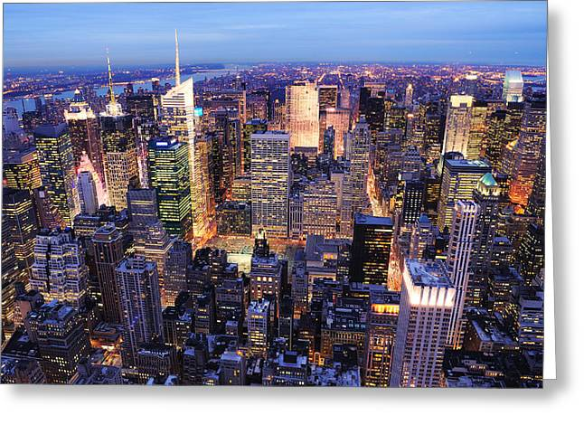 New York City Manhattan Times Square Night Greeting Card