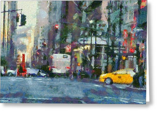New York City Morning In The Street Greeting Card by Dan Sproul