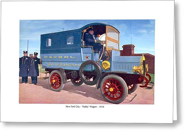 New York City - New York Police Department Patrol Paddy Wagon - 1910 Greeting Card