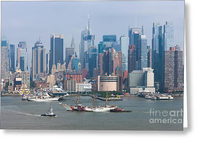 New York City Parade Of Sail I Greeting Card by Clarence Holmes