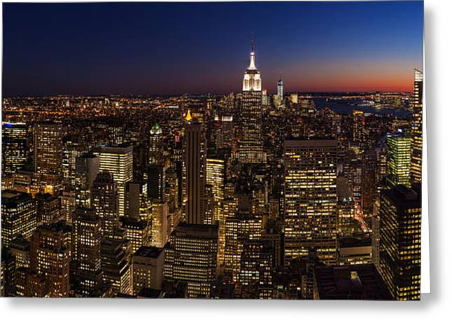 New York City Skyline At Dusk Greeting Card by Mike Reid