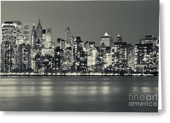 New York City Skyline At Night Greeting Card by Sabine Jacobs
