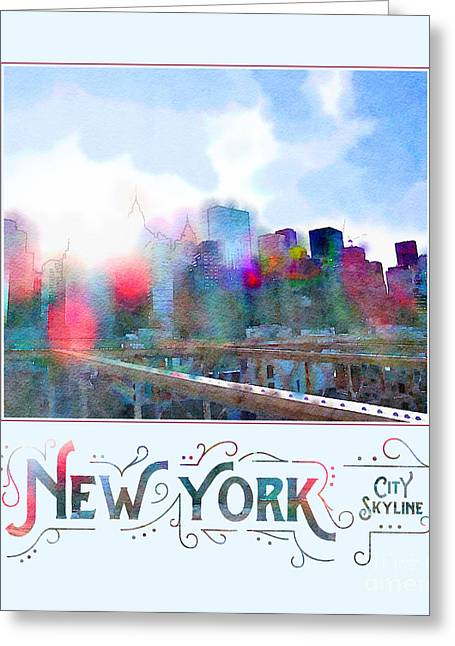 New York City Skyline Digital Watercolor Greeting Card