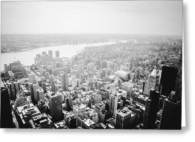 New York City Skyline - Foggy Day Greeting Card by Vivienne Gucwa