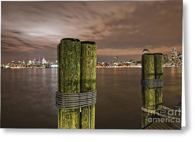 New York City Skyline From New Jersey Pier Usa Greeting Card