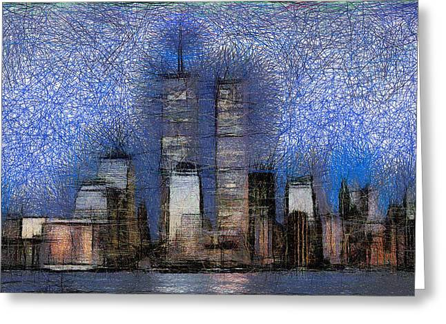 New York City Blue And White Skyline Greeting Card by Georgi Dimitrov