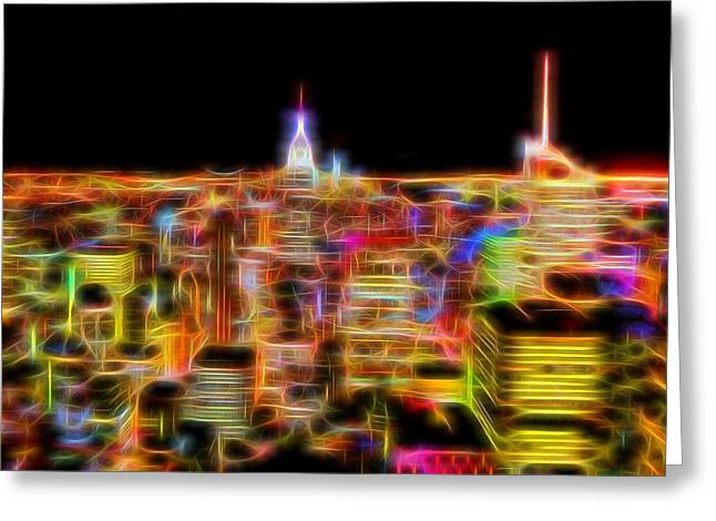 New York City Skyline Glowing Lights Greeting Card