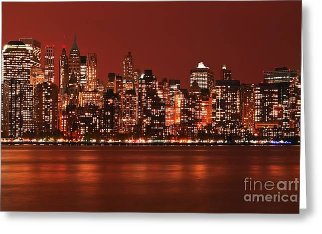 New York City Skyline In Red Greeting Card
