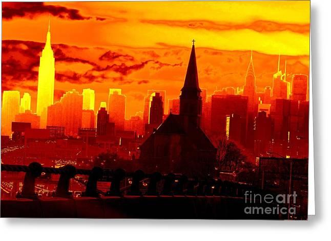 New York City Skyline Inferno Greeting Card by Ed Weidman