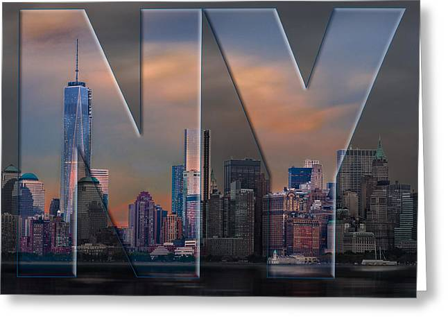 Greeting Card featuring the photograph New York City Skyline by Steve Zimic