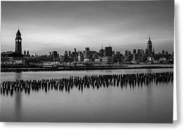 New York City Skyline Stillness Bw Greeting Card by Susan Candelario