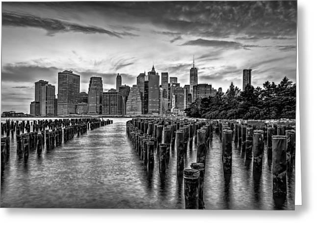 New York City Skyline Sunset Hues Bw Greeting Card by Susan Candelario