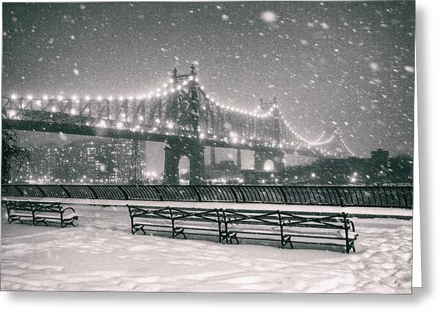 New York City - Snow At Night - Sutton Place Greeting Card by Vivienne Gucwa
