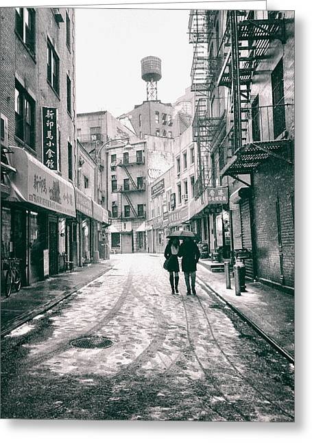 New York City - Snow On A Winter Afternoon - Chinatown Greeting Card by Vivienne Gucwa