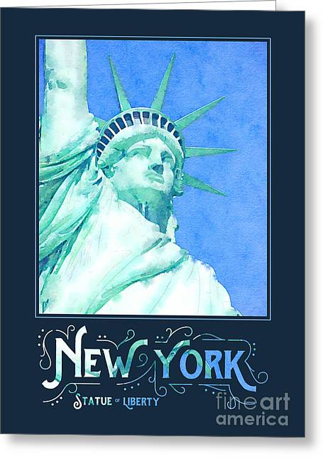 New York City Statue Of Liberty Digital Watercolor 1 Greeting Card