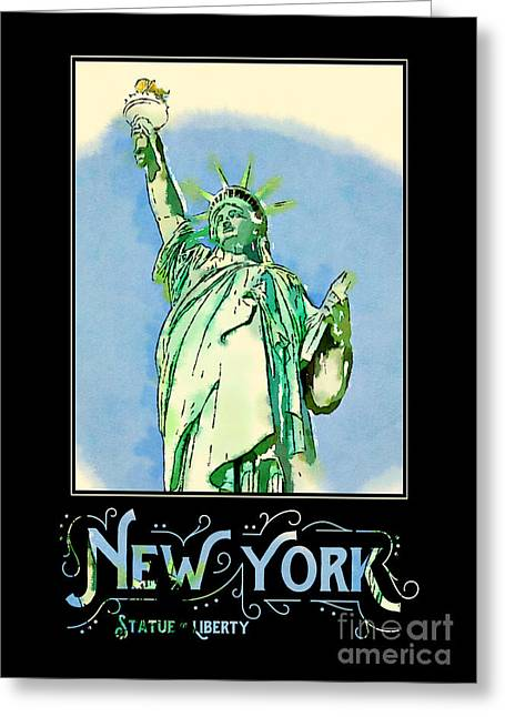 New York City Statue Of Liberty Digital Watercolor 2 Greeting Card