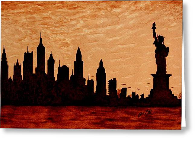 New York City Sunset Silhouette Greeting Card by Georgeta  Blanaru