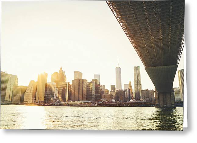 New York City - Under The Brooklyn Bridge - Skyline Sunset  Greeting Card by Vivienne Gucwa
