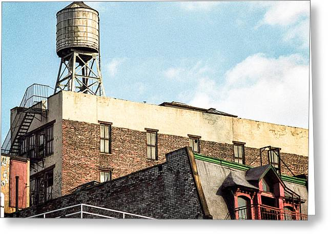 Greeting Card featuring the photograph New York City Water Tower 2 by Gary Heller