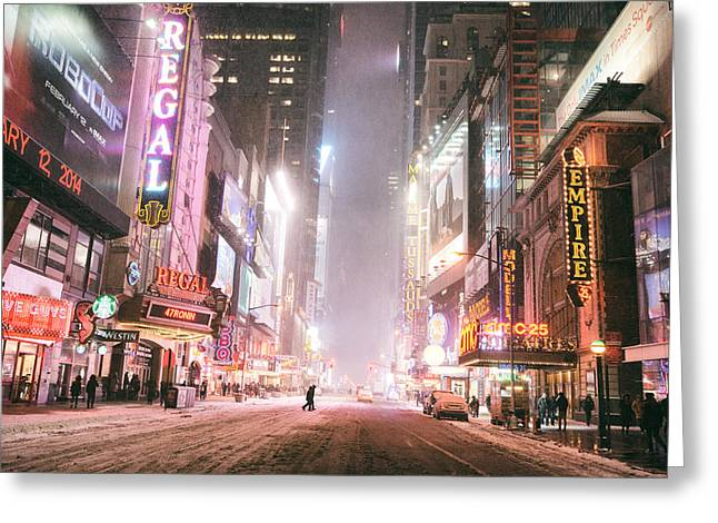 New York City - Winter Night - Times Square In The Snow Greeting Card by Vivienne Gucwa