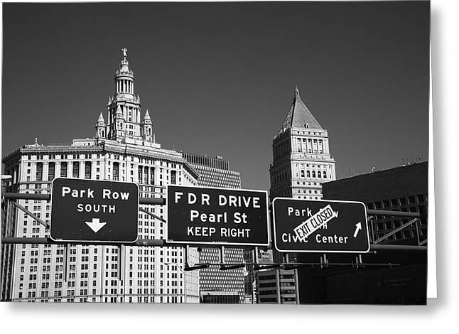 New York City With Traffic Signs Greeting Card by Frank Romeo