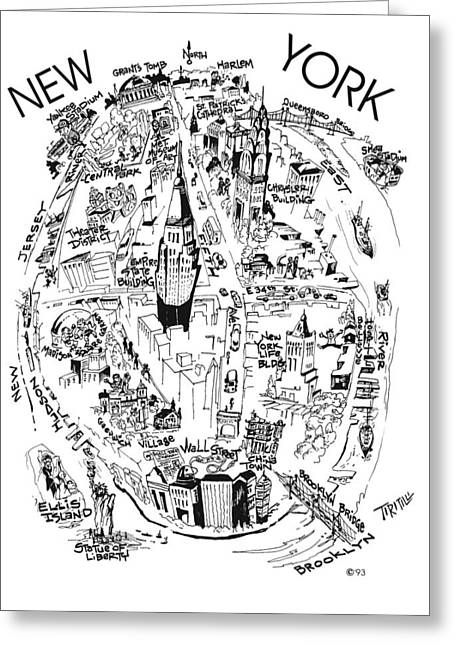 New York City's Points Of Interest Greeting Card by Robert Tiritilli