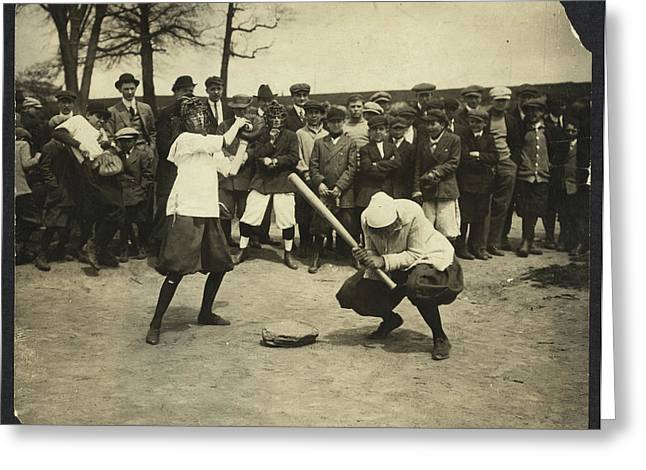 New York Female Giants - Miss Mccullum Catcher And Miss Greeting Card