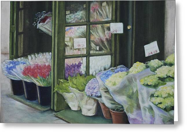 New York Flower Shop Greeting Card by Rebecca Matthews