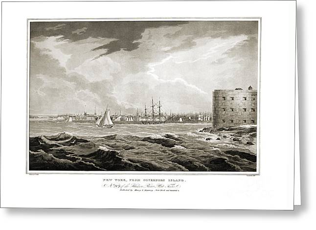 New York From Governors Island - 1821 Greeting Card