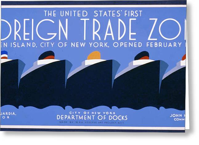 New York Harbor Greeting Card by American Classic Paper